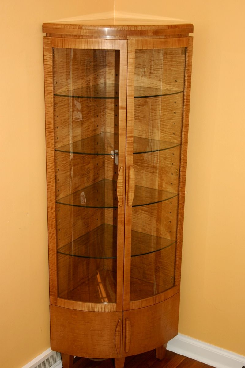 handmade corner curio cabinet by whim wood custom. Black Bedroom Furniture Sets. Home Design Ideas
