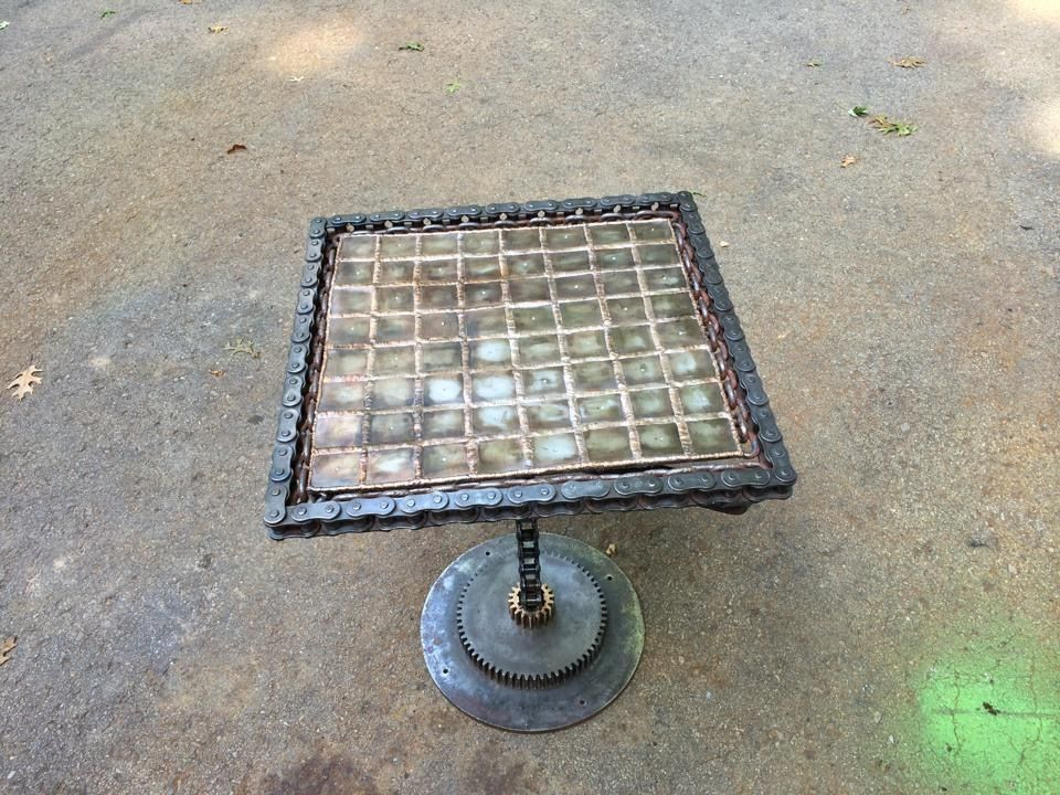 Reclamed Chain End Table/Chess Board
