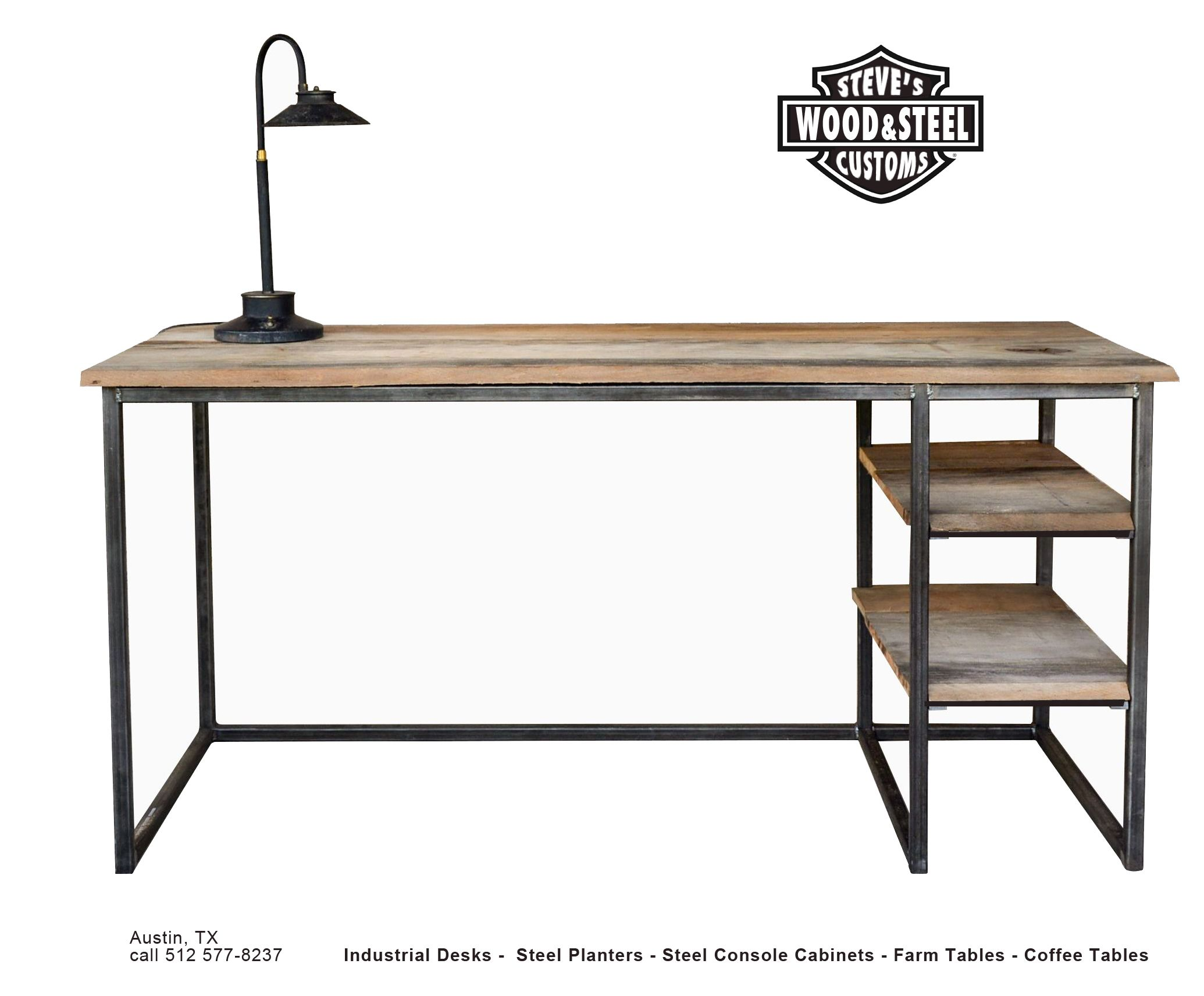 Buy a custom made industrial reclaimed wood desk made to for Metal desk with wood top