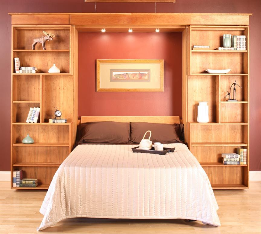 Custom Library Wall Bed By Hardwood Artisans