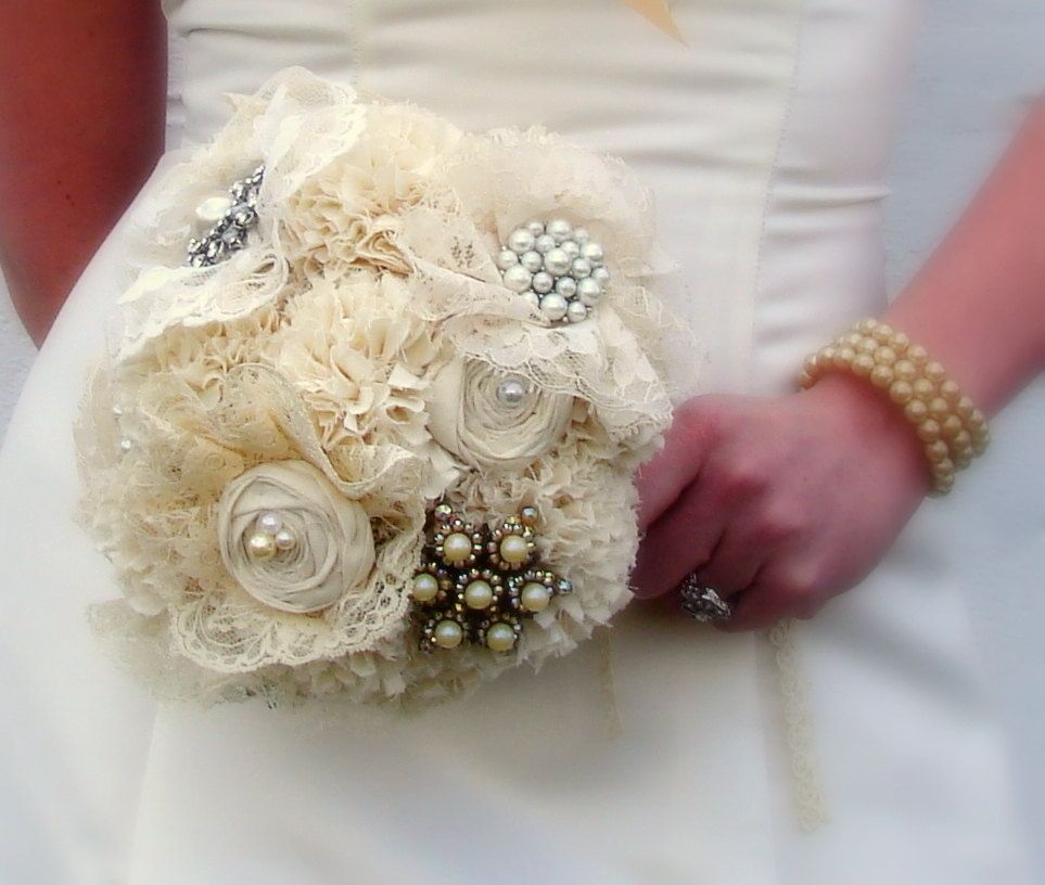 Hand Crafted Brooch Bridal Bouquet Jewelry Bouquet Fabric Flower Bouquet