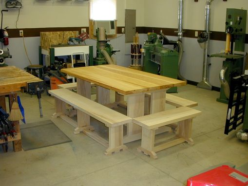 Custom Made Early 19th Century Ash Trestle Table & Benches