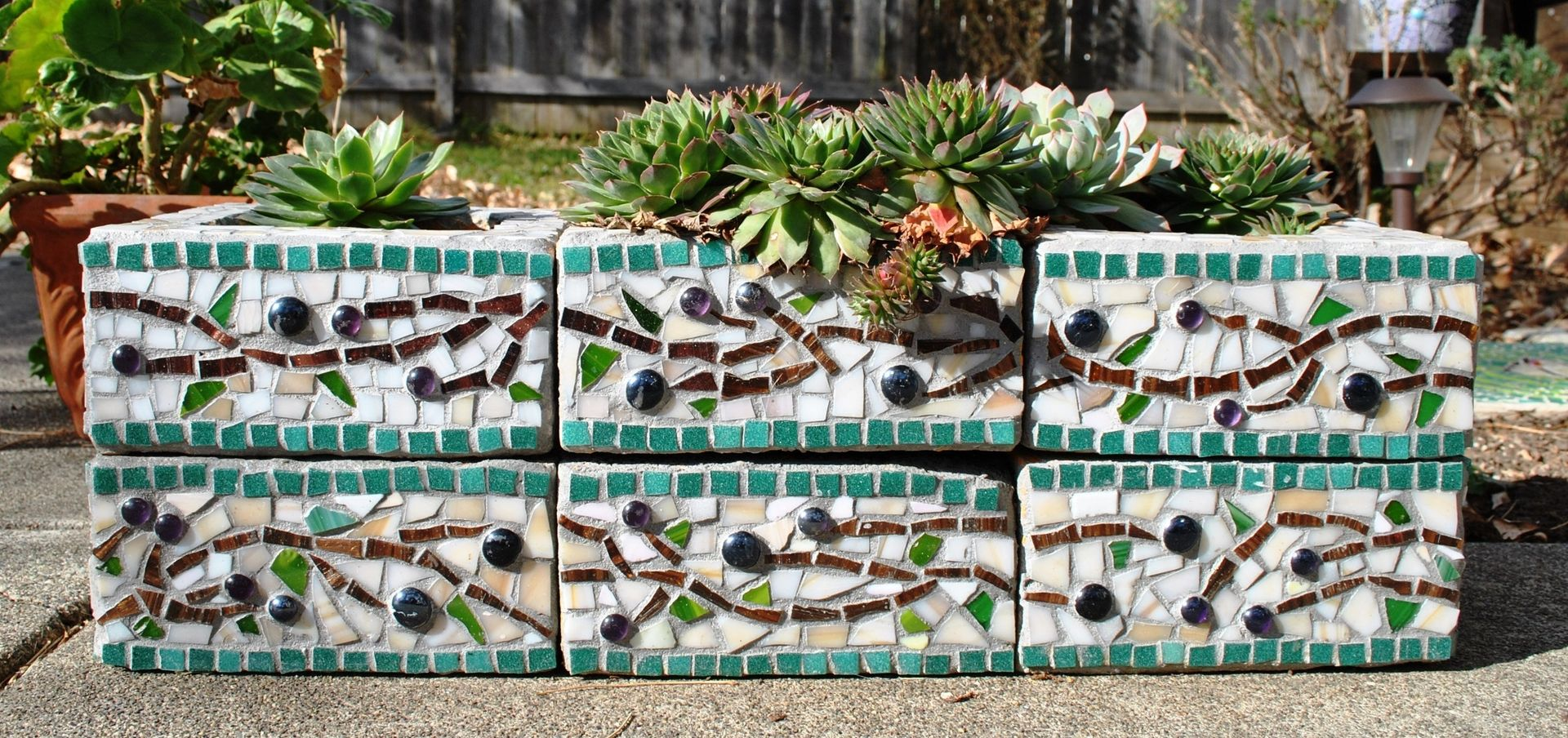 Hand made mosaic cinder block planter by mid century for Garden wall mosaic designs