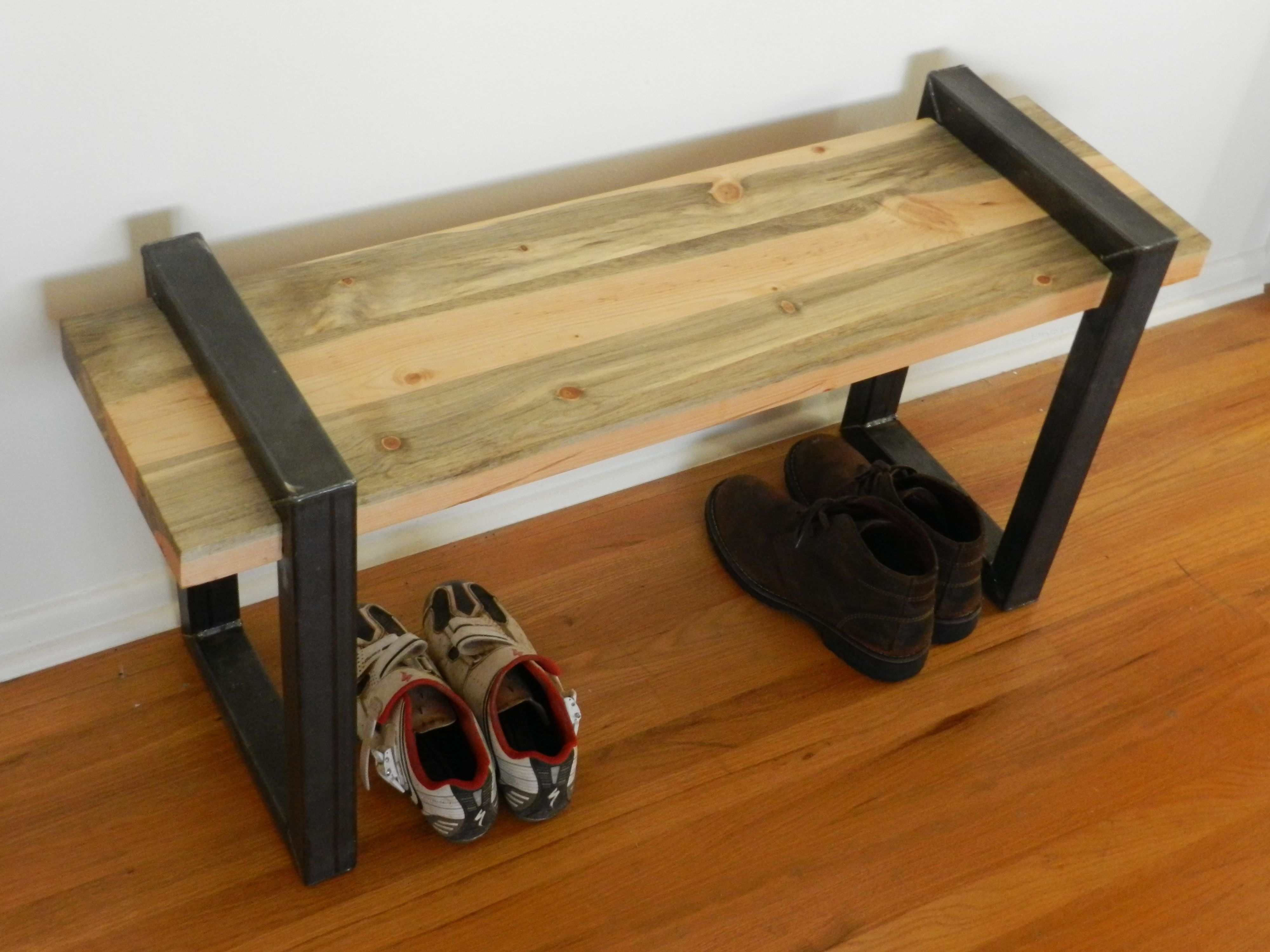 Custom Made Beetle Kill Bench With Mild Steel Legs By Purpose And Pine
