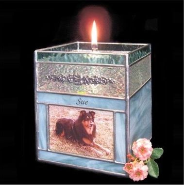 Custom Made Stained Glass Oil Candle Photo Pet Cremation Urn