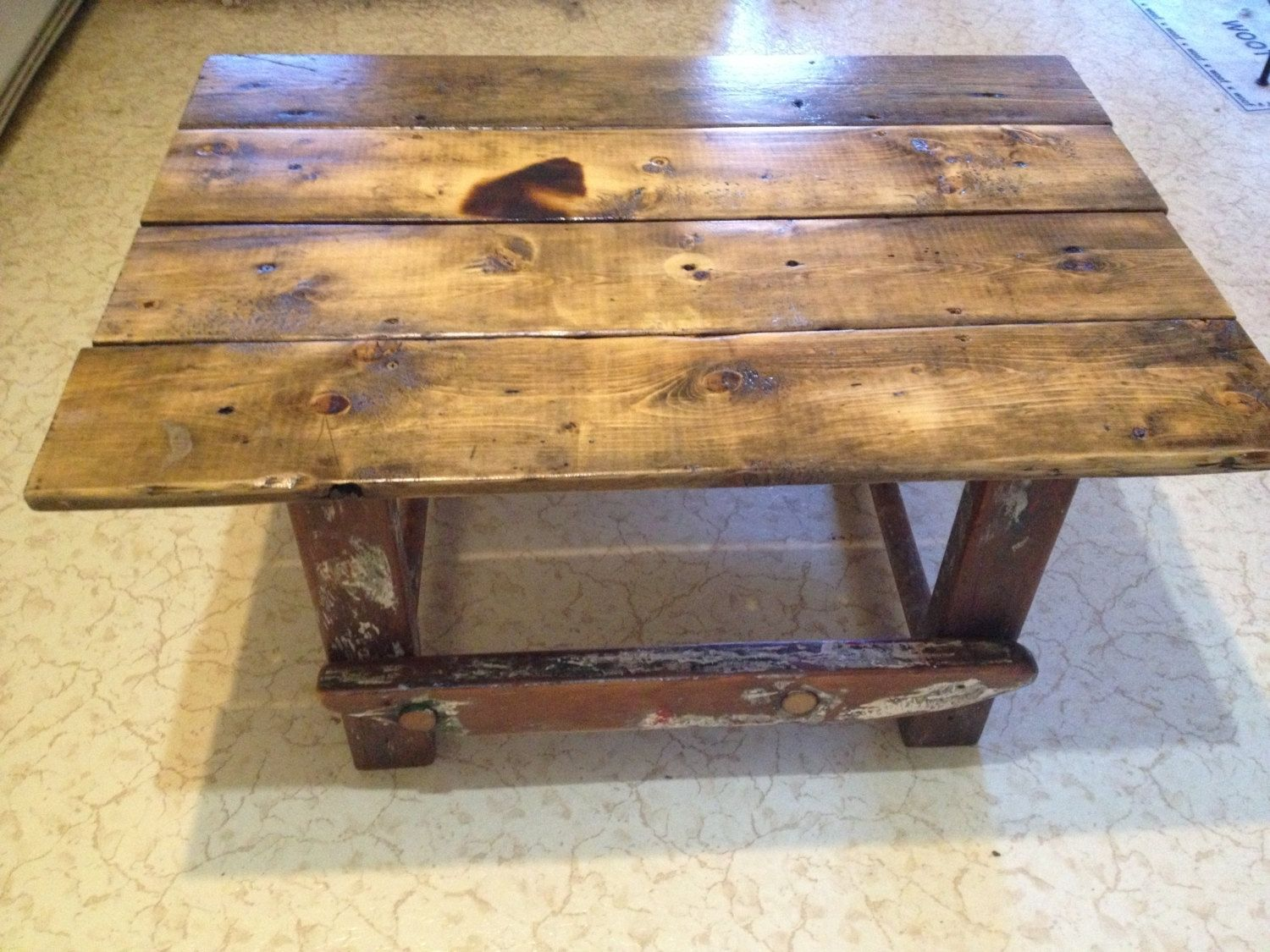 Custom painter 39 s ladder and rustic work table wood for Ladder coffee table