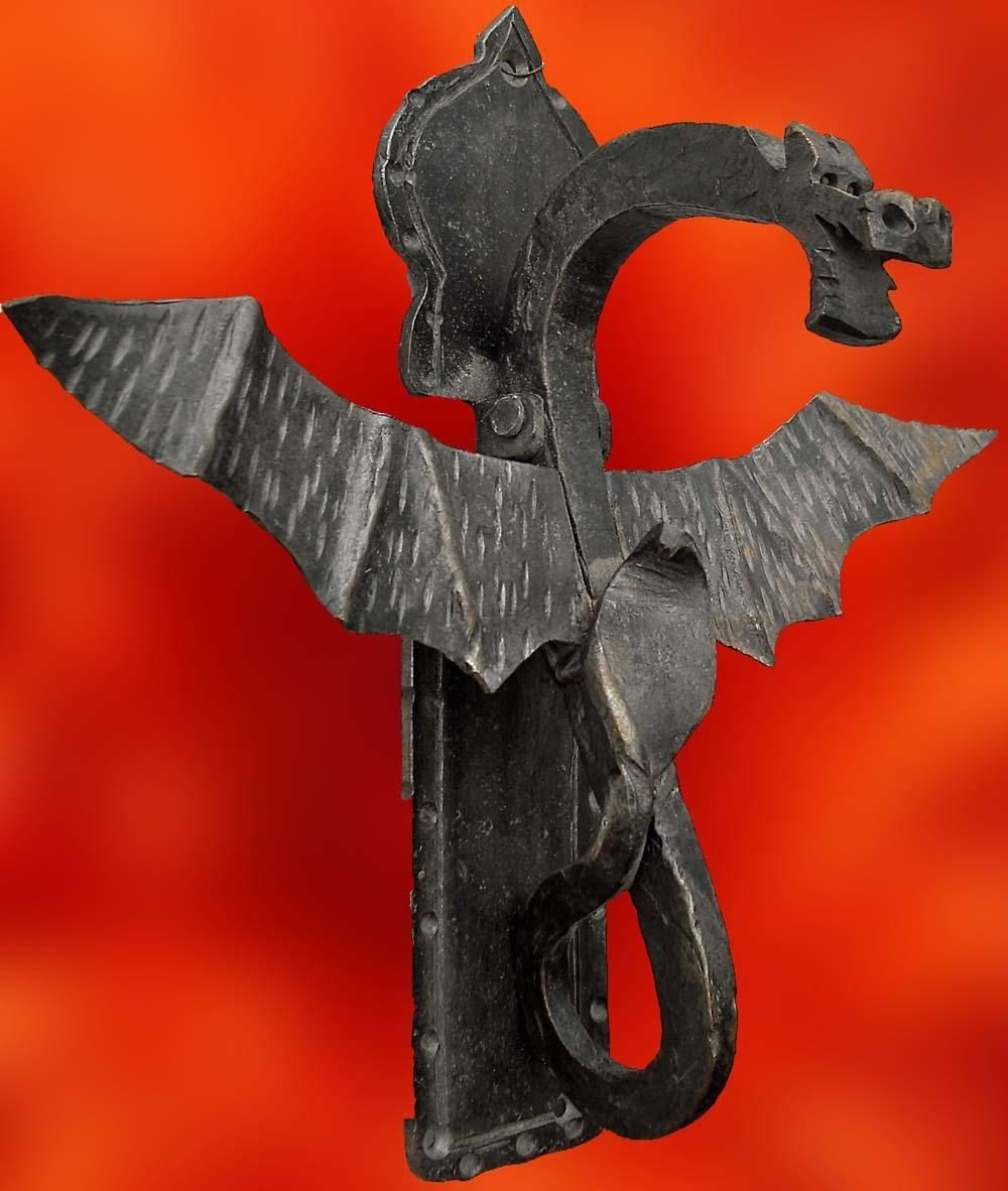 Hand made custom iron dragon door knocker by italian iron works - Dragon door knocker ...