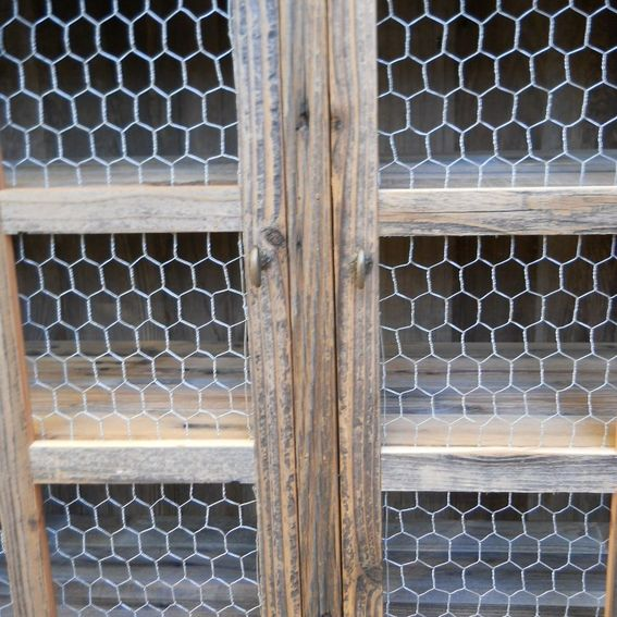 Chicken Wire Kitchen Cabinet Doors: Hand Made Large Barnwood Pie Cabinet With Chicken Wire By