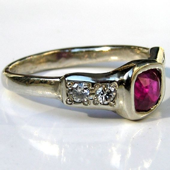 Custom Burma Ruby Ring: Handmade Burmese Ruby & Diamond 14k White Gold Engagement