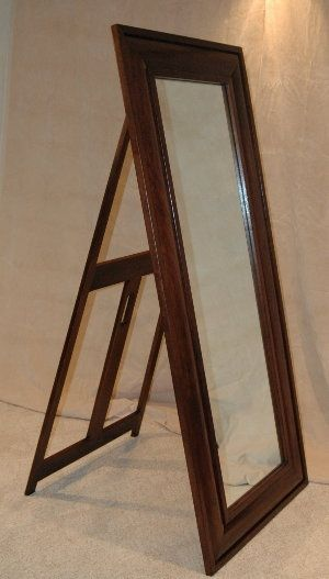 Hand made handcrafted walnut standing floor mirror by for Custom made mirrors