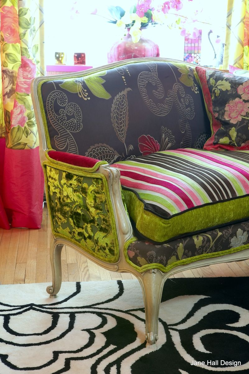 custom antique upholstered settee in designers guild embroidered silk and cut velvet by jane. Black Bedroom Furniture Sets. Home Design Ideas