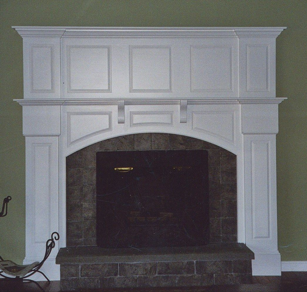 Custom White Fireplace Mantel By Broughton Woodworks