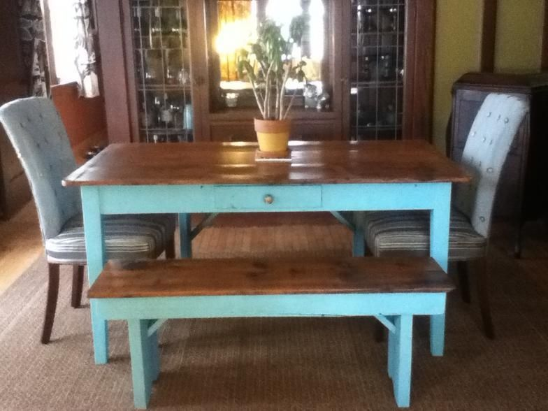 Hand Made Custom Farm Table With Matching Bench By