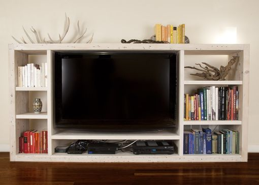 Custom Made Whitewashed Reclaimed Media Center