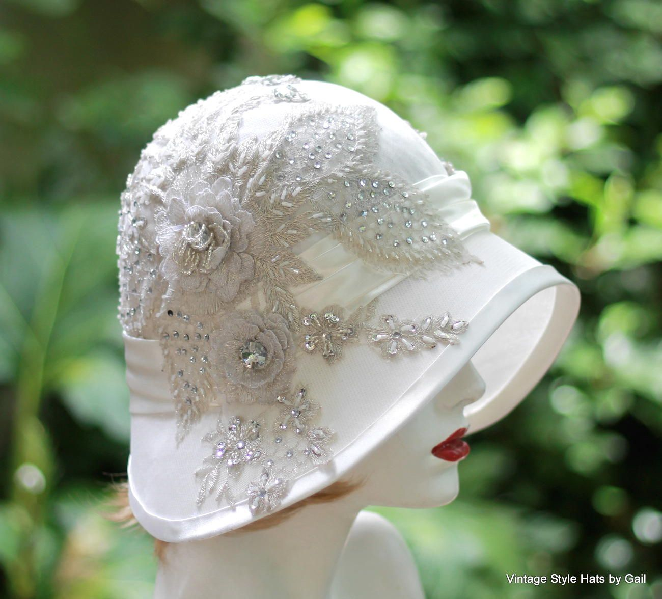 Custom Made Vintage 1920 S Hat Elaborate Lace Rhinestone