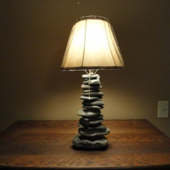 Hand Crafted Stacked Stone Lamp By Stone Lamp Guy