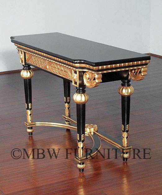 Hand crafted 4ft wide solid mahogany black gold italian for 4ft sofa table