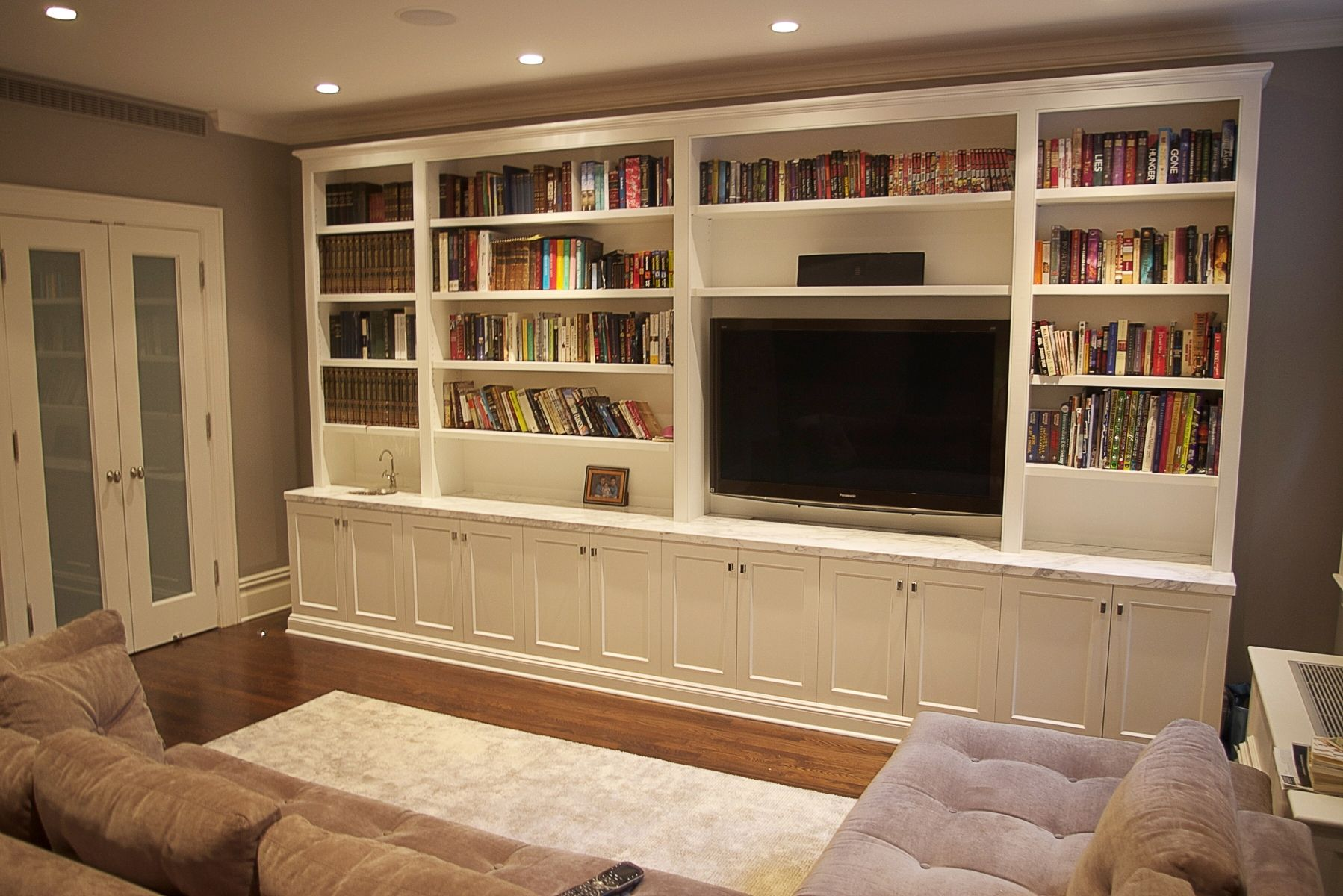Custom living room media unit by codfish park design llc - Wall units for living room mumbai ...