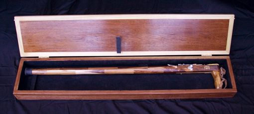 Custom Made Custom Acacia Wood Walking Stick In Mahogany Case