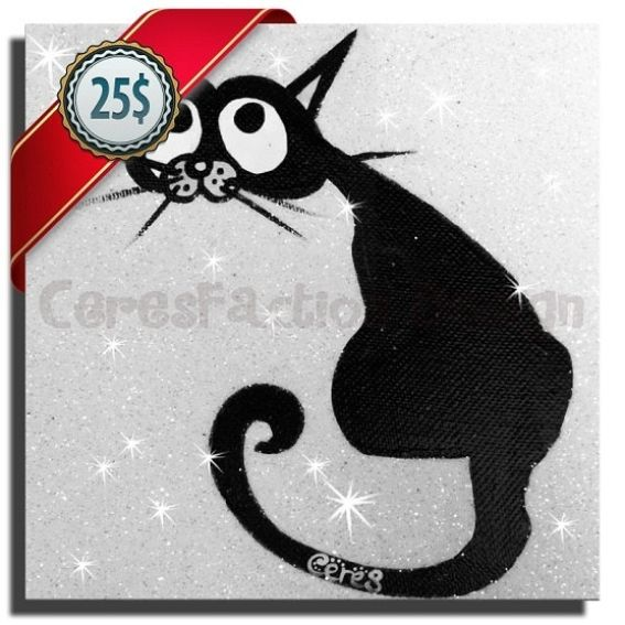 Cute Black Wall Decor : Handmade gato black cute cat for your kids room wall