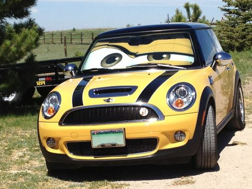 handmade mini cooper eyes sunshade eyeshade by artistic reflection. Black Bedroom Furniture Sets. Home Design Ideas