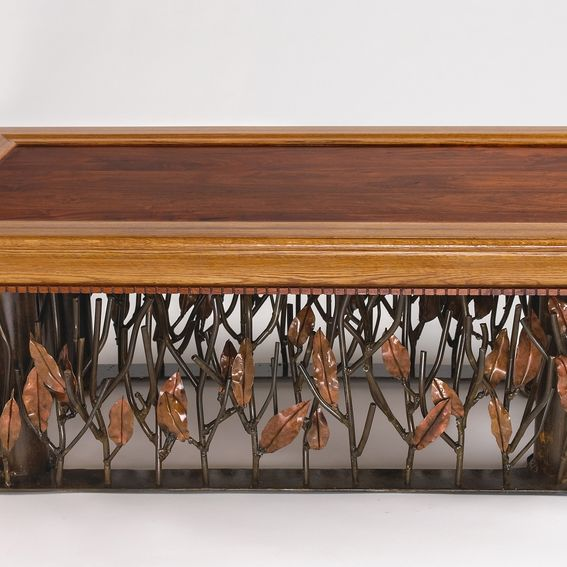 Hand Crafted Mesquite, Steel And Copper Coffee Table By