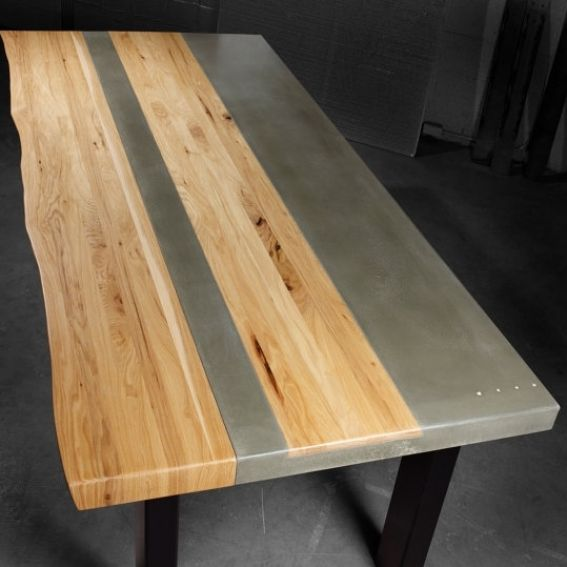 Hand Made Concrete Wood Steel Dining Kitchen Table By Tao Concrete
