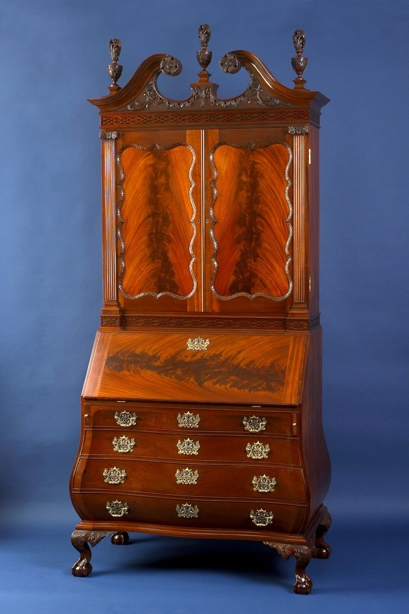 Handmade Bombe Secretary Desk By Kinloch Woodworking Ltd