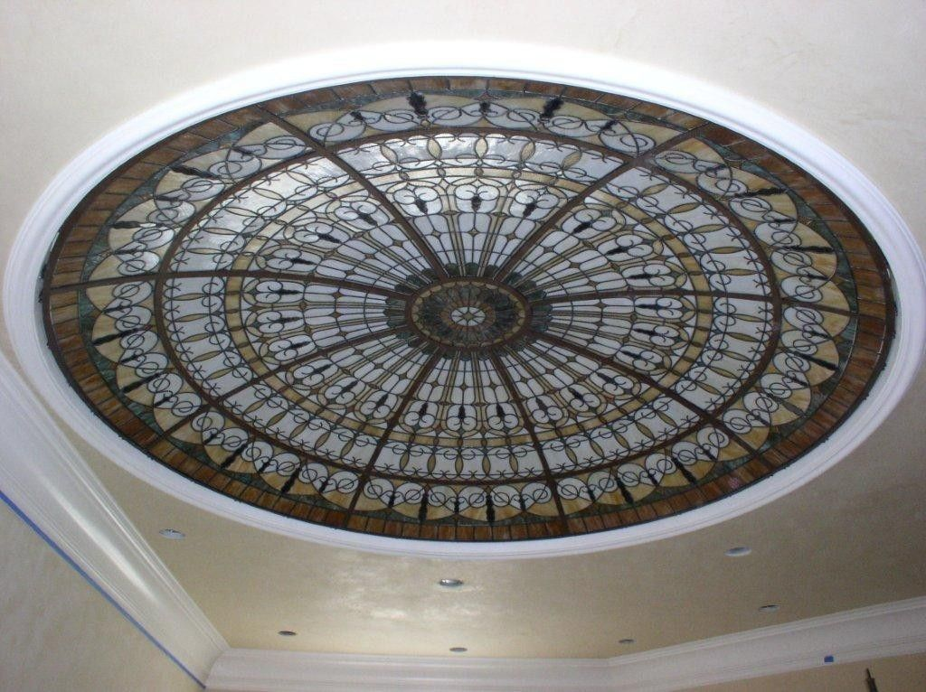 Custom Made Stained Glass Illuminated Dome Ceiling By Art