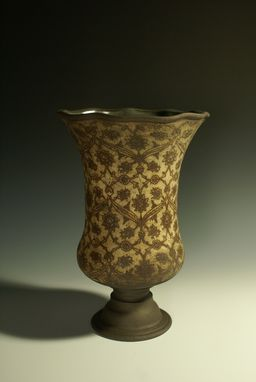 Custom Made Patterned Stoneware Pedestal Vase