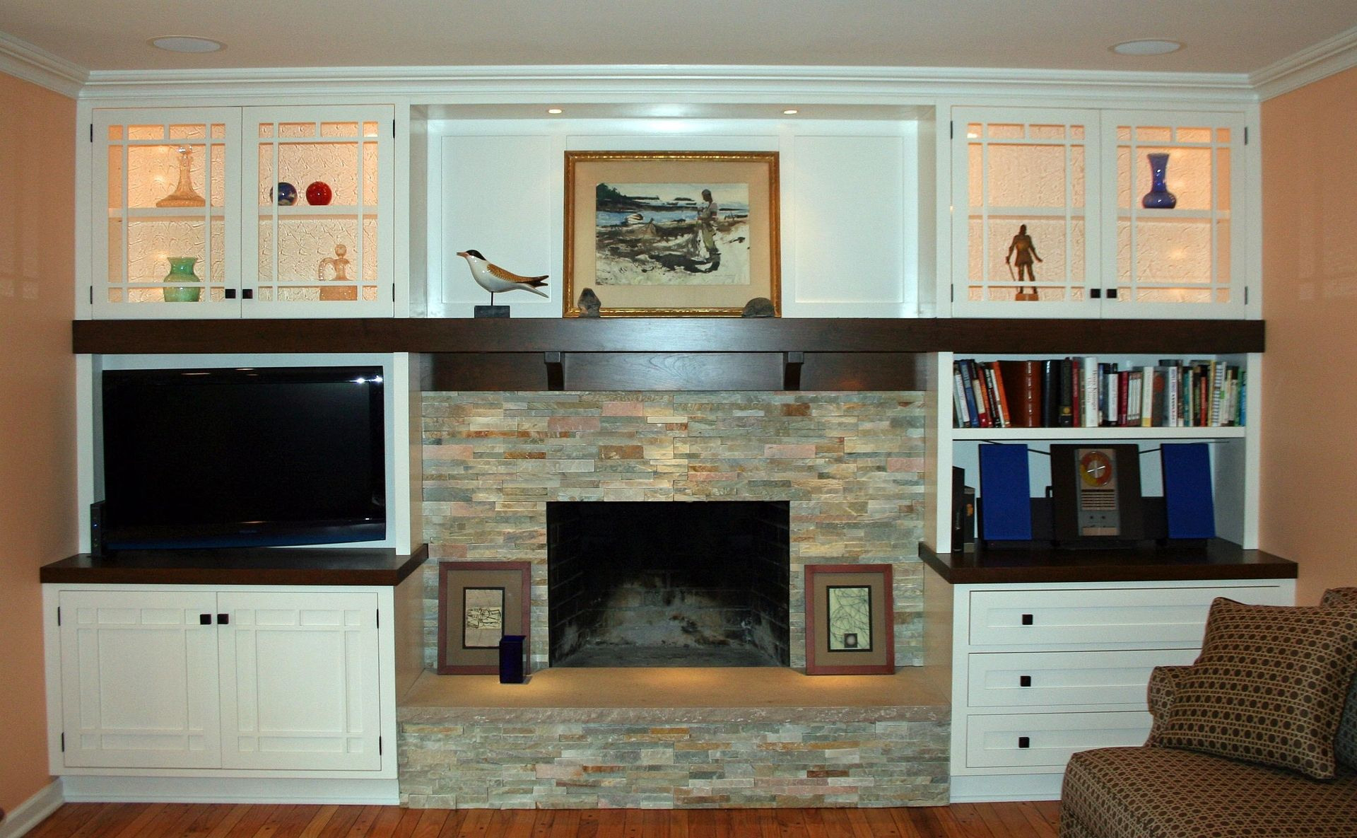 Hand Crafted Arts Crafts Style Fireplace Wall Unit By Two Rivers Woodworking