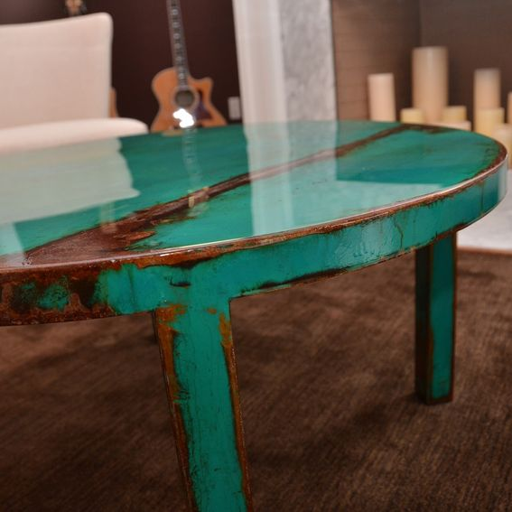 Hand Crafted Custom Round Metal Coffee Table Art With Beautiful Turquoise And Jade Green Paint