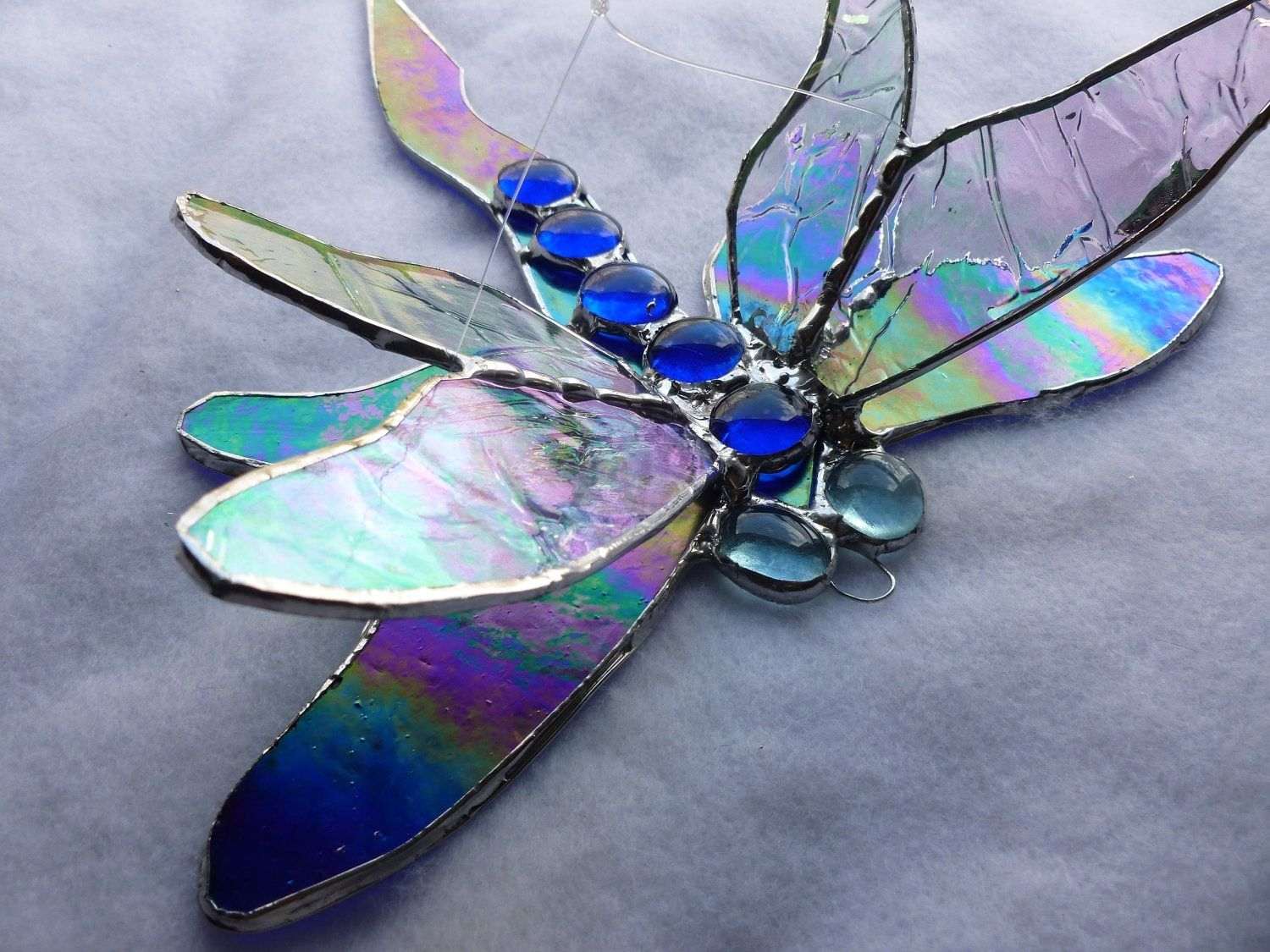 Purple And Blue Bedroom Buy A Custom Made Cobalt Iridescent Blue Dragonfly Stained