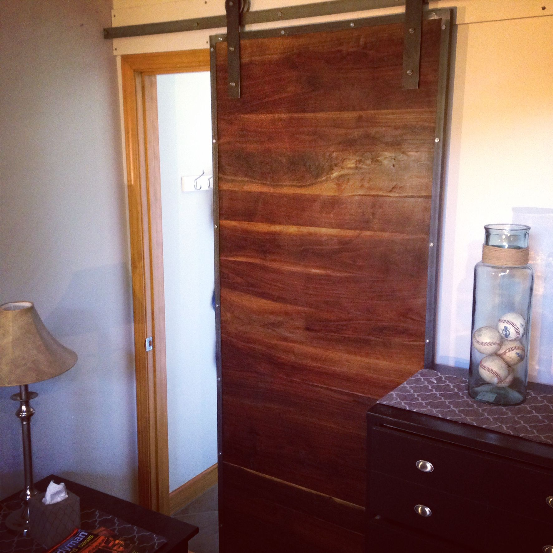 1774 #B66B15 Custom Made Industrial Steel And Black Walnut Sliding Barn Door save image Custom Made Steel Doors 46671774