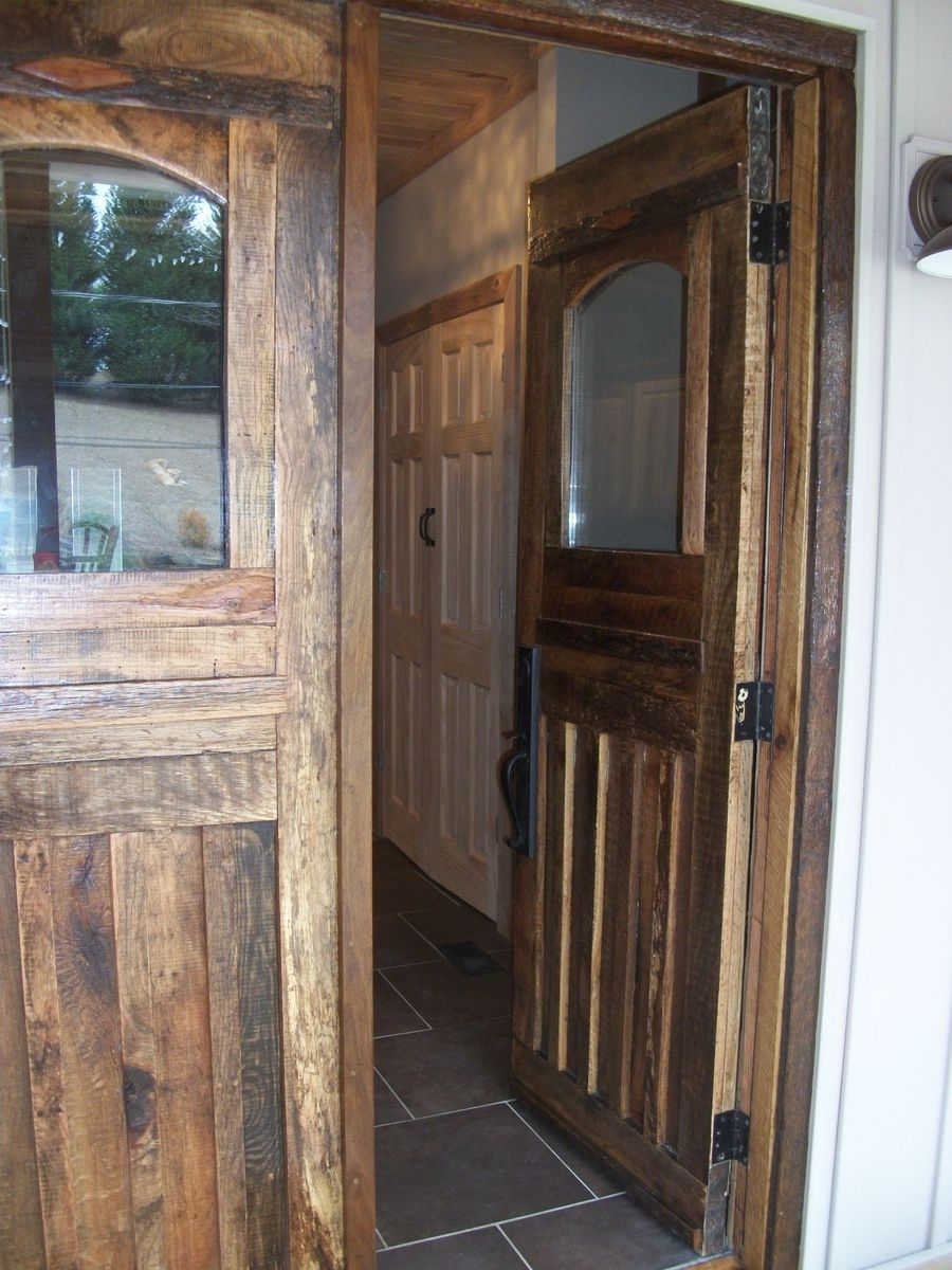 Hand crafted barn wood front doors and interior door by for Custom made wood doors