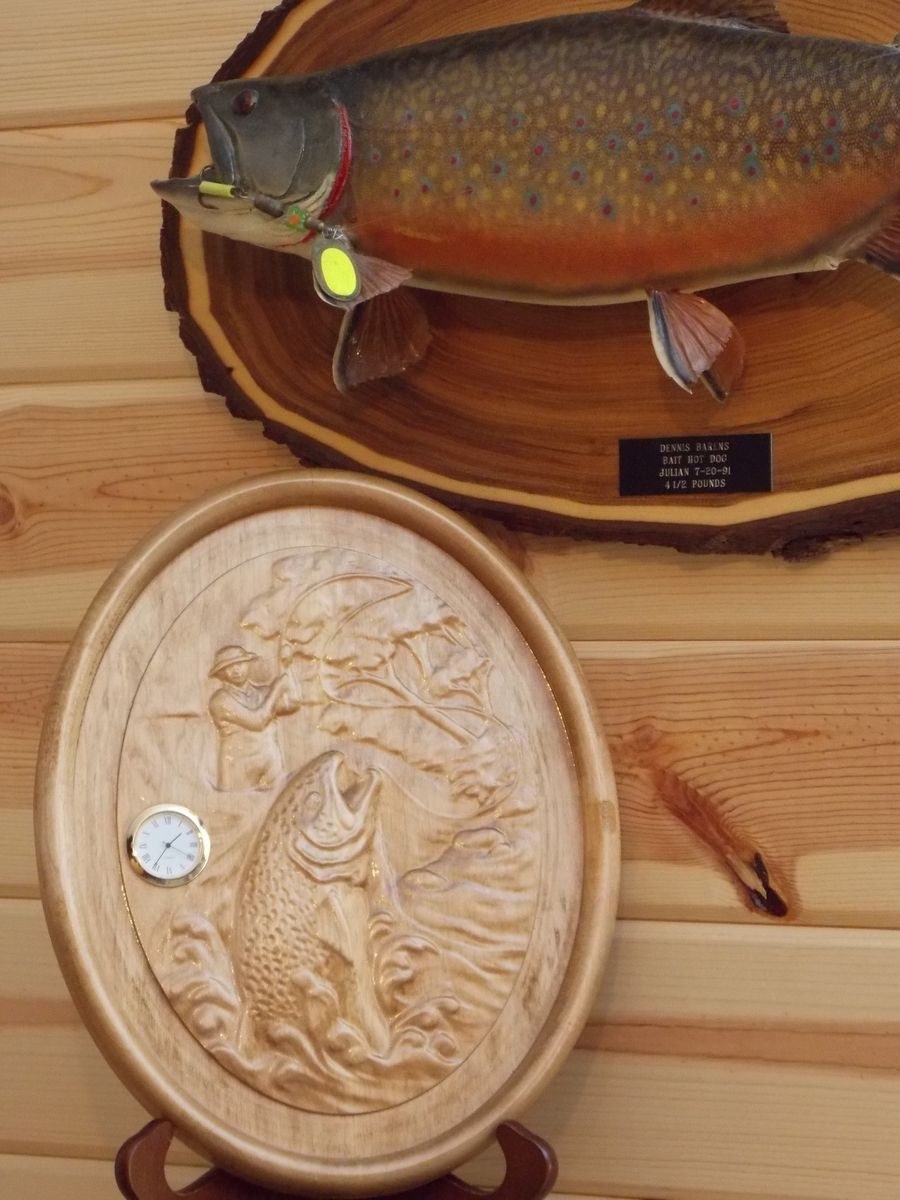 Hand crafted wood clock trout maple hardwood rustic