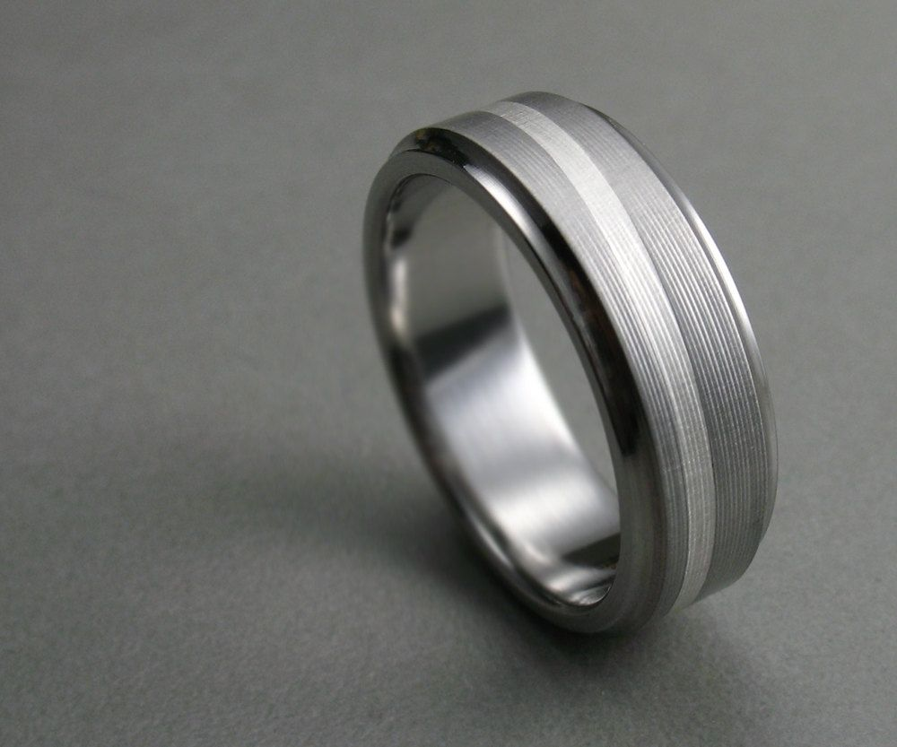 Hand Made Titanium Silver Swirl Men's Wedding Band By