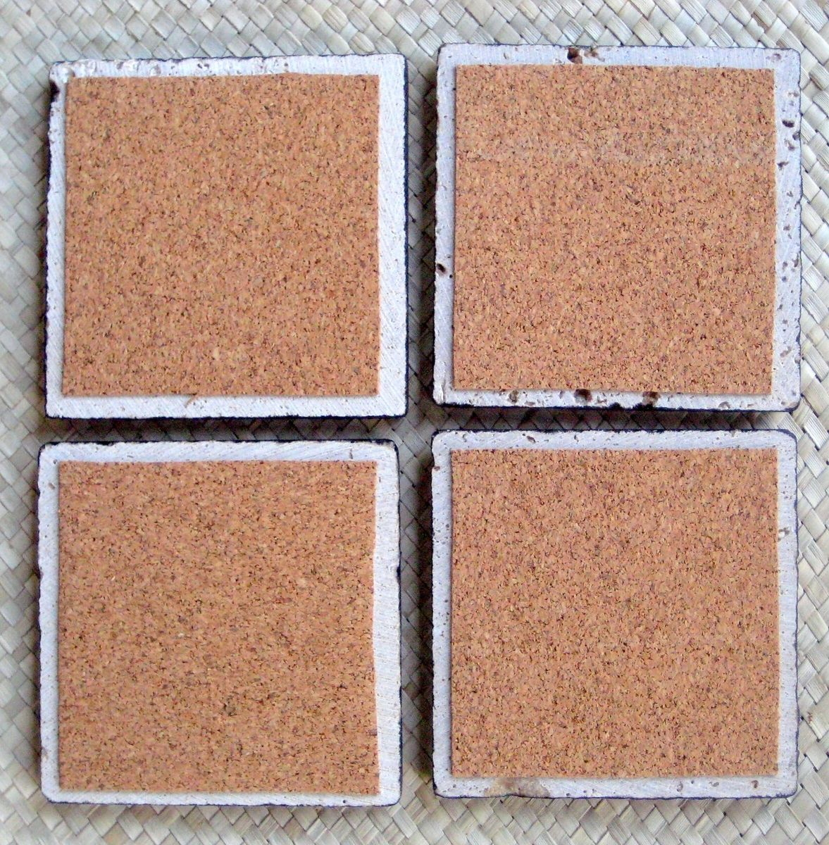 Hand Crafted Tile Coasters Handmade Poppy Design Set Of 4