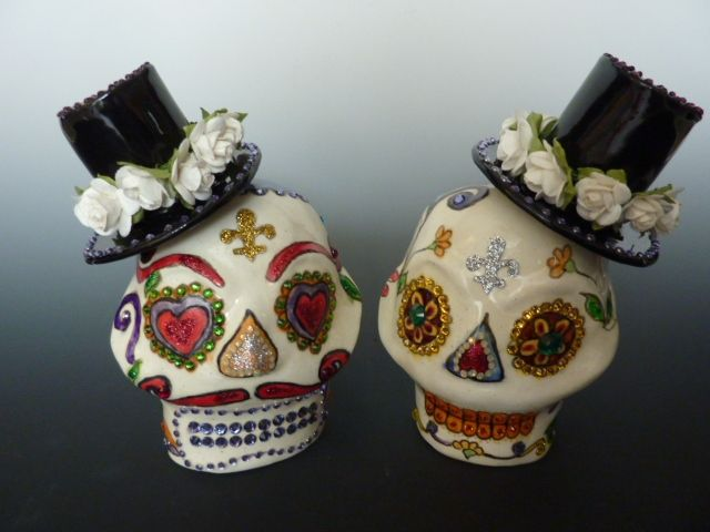 Buy A Hand Crafted Sugar Skull Wedding Cake Topper Made