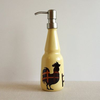 Custom Made Soap Dispenser, Oil Vinegar Bottle, Rooster And Fence, Yellow
