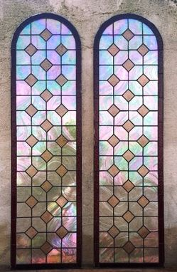 Custom Made Stained Glass Iridescent Door Panels/Sidelights Set- Champagne Diamonds (S-6).