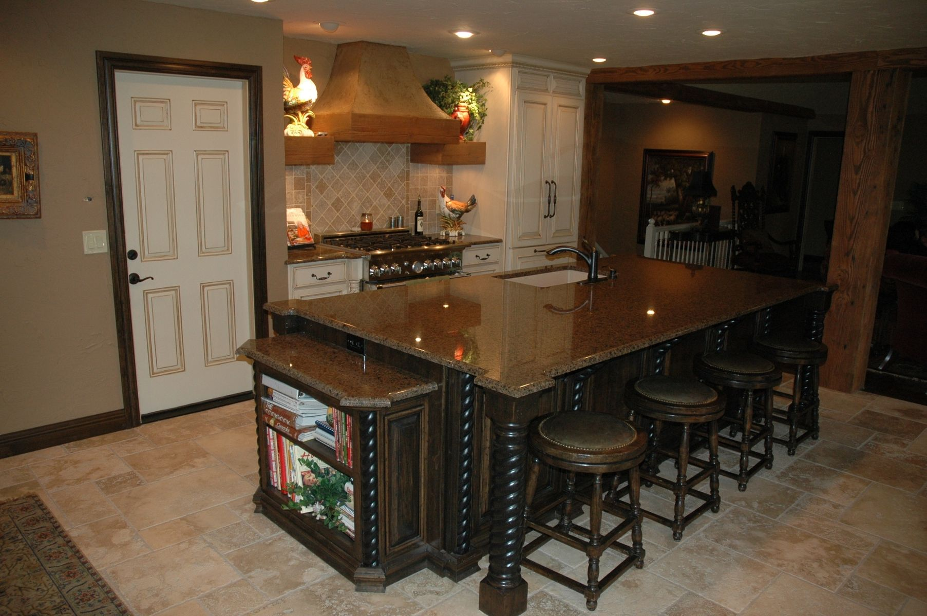 Basement Bar Ideas Kitchen Walla: Custom Made Rustic Island With French Country Painted