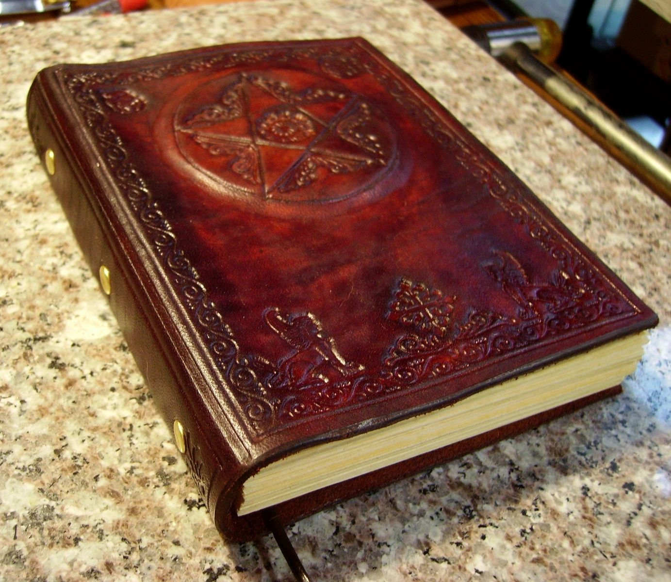 Industrial Style Bedroom Hand Crafted Hand Tooled Leather Pentagram Blank Book