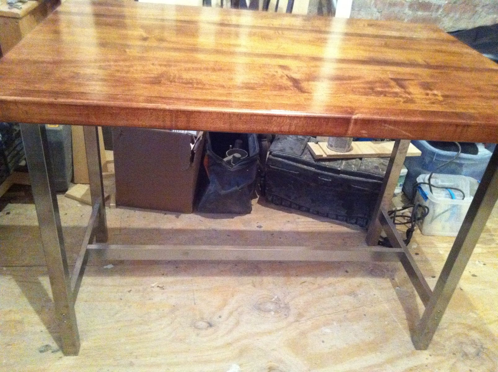 hand made butcher block top with metal legs by homestead