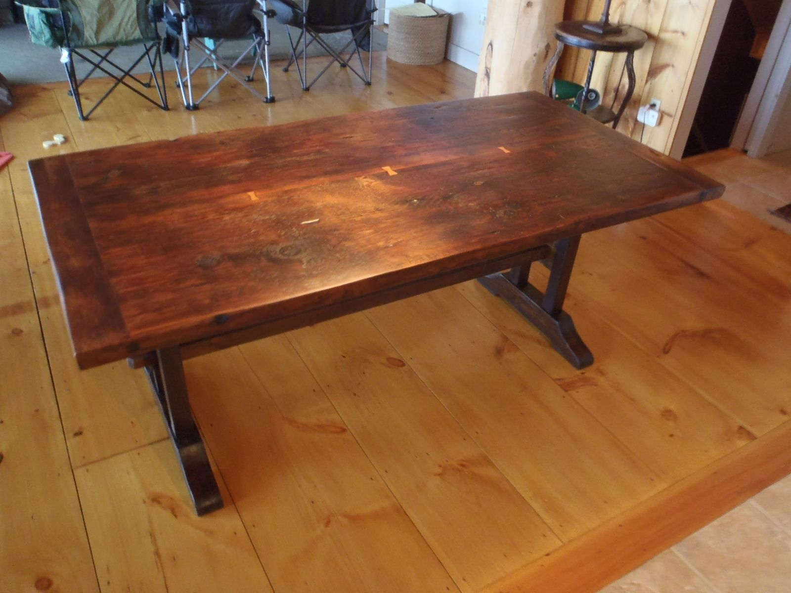 Hand Made Reclaimed Two Board Top Slab Top Trestle Table