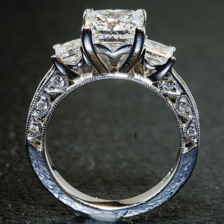 Hand Crafted Custom Tacori Ring 3 Stone Princess Cut By