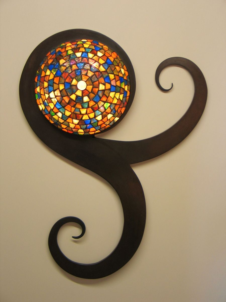 Hand Crafted Tiffany Style Stained Glass Wall Sconce By