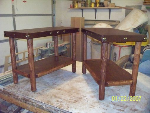 Custom Made Leather Side Tables