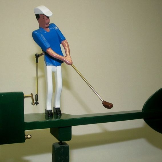 Hand Crafted Male Golfer Whirligig By Whirligigs Hand