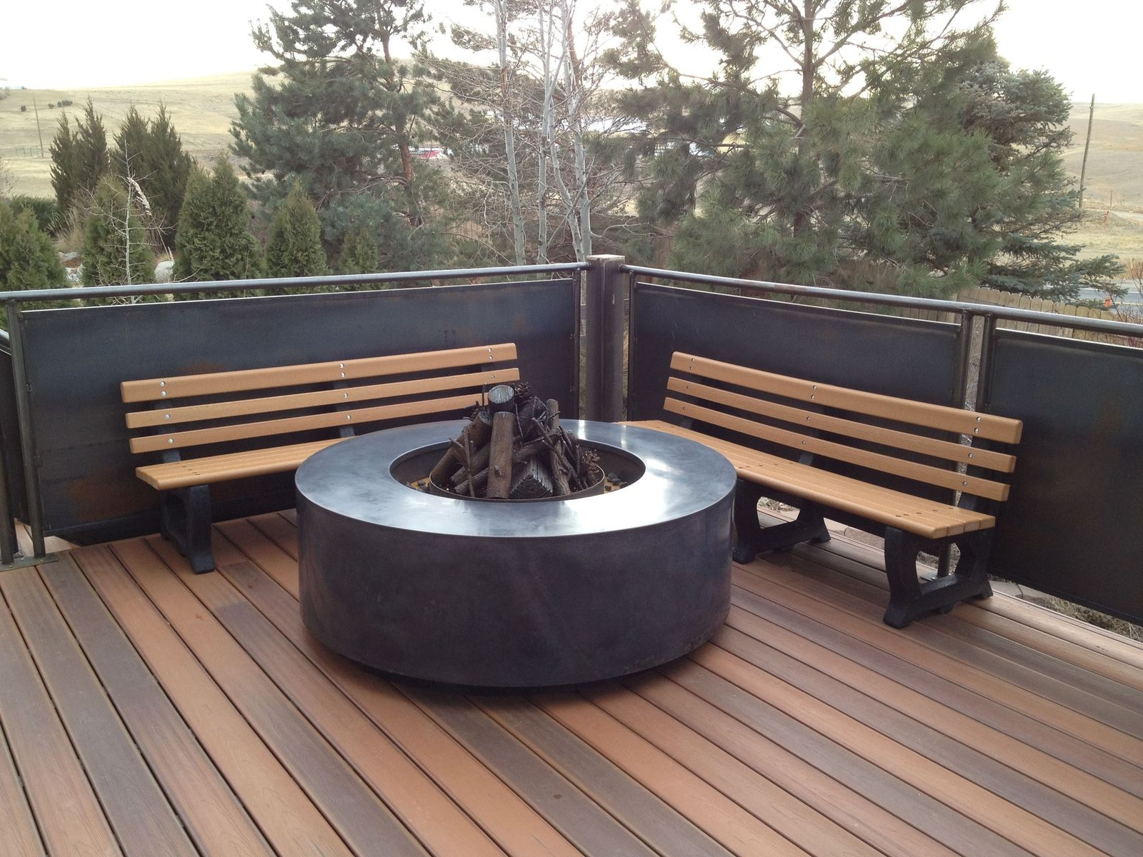 Very Impressive portraiture of Handmade Floating Concrete Fire Pit Surround by Concrete Pete  with #835E48 color and 1600x1200 pixels